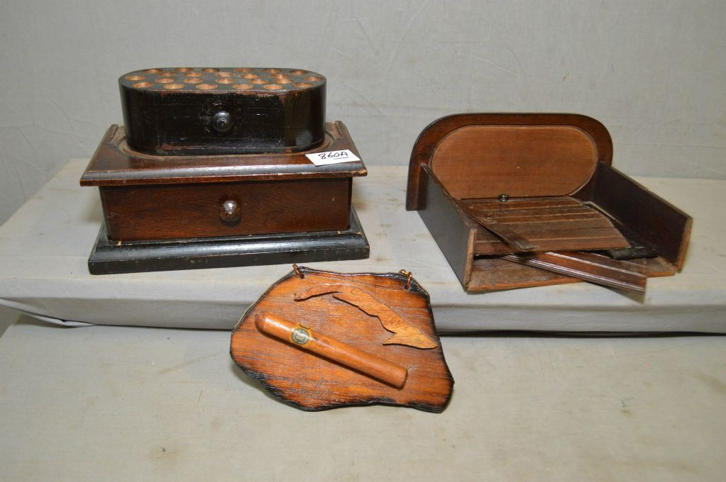Tray Lot Wooden Roll Front Cigar Box Needs Work Vintage