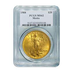 1908 $20 Saint Gaudens WM PCGS MS62