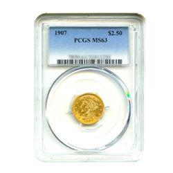 1907 $2.50 Liberty GOLD Quarter Eagle PCGS MS63