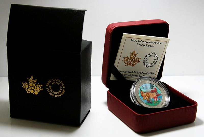Toy Box Statutory Holiday with 50-Cent in 3D Specimen Canada Lenticular Coin