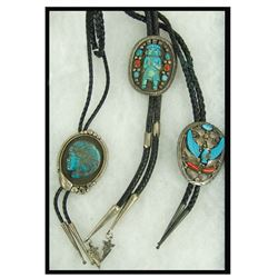 3 Carved Turquoise Bolo Ties