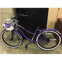PURPLE HUFFY NEWPORT 7 SPEED CRUISER BIKE - NO SEAT