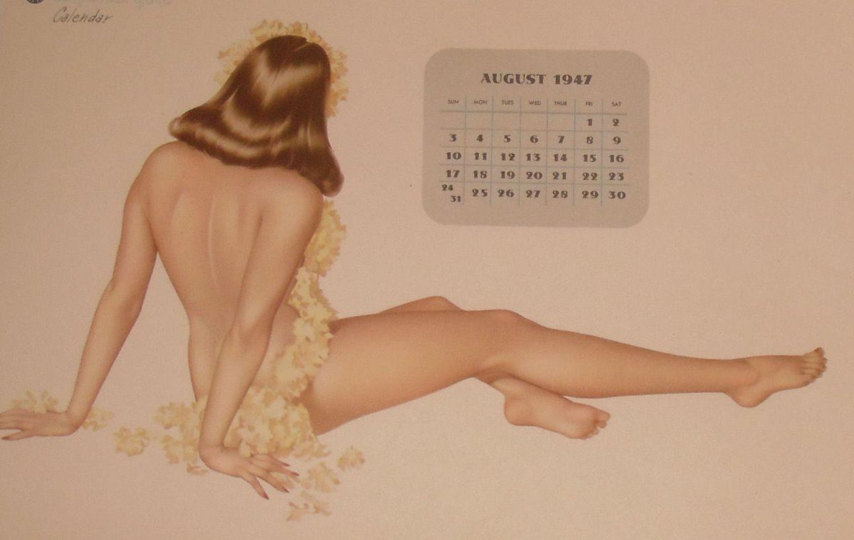 Calendrier Pin Up.August 1947 Pin Up Esquire Girl Calendrier