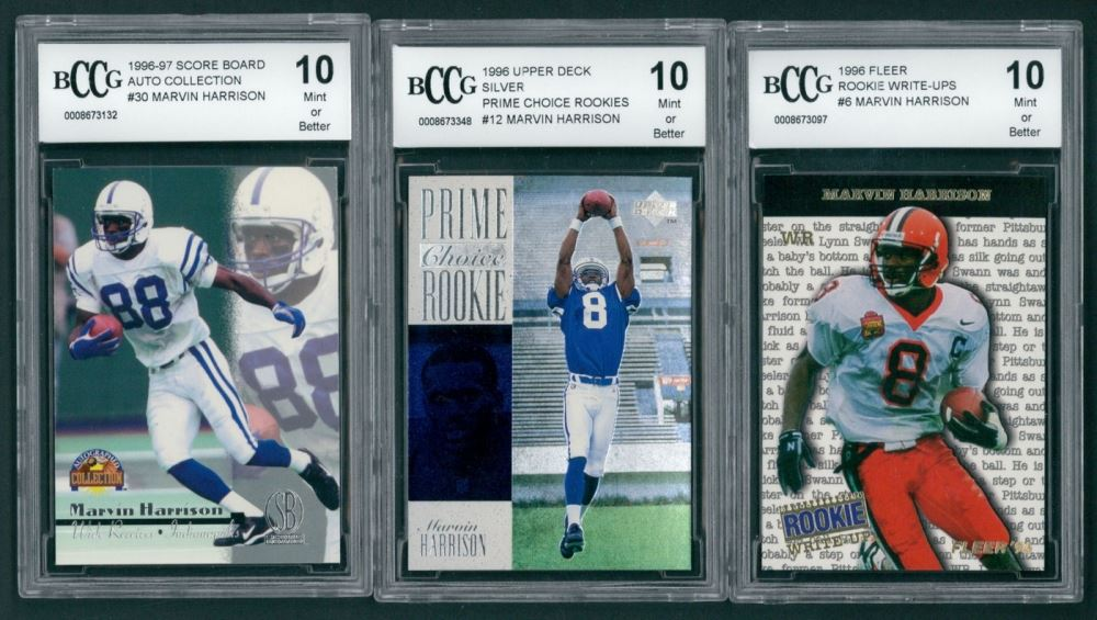 Lot Of 3 Marvin Harrison Bccg Graded 10 Football Cards