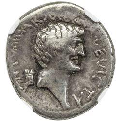 ROMAN IMPERATORIAL PERIOD: Mark Antony and Cleopatra VII of Egypt, AR denarius (3.70g), Alexandria.