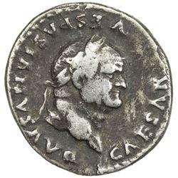 ROMAN EMPIRE: Vespasian, 69-79 AD, AR denarius. F