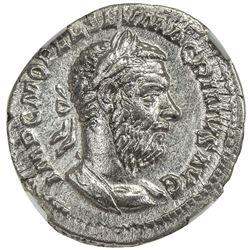 ROMAN EMPIRE: Macrinus, 217-218 AD, AR denarius (3.10g). NGC EF