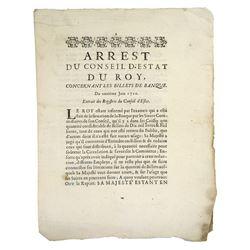 1720 Arrêt on the Billets of John Law