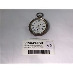 Antique Chronometer Balance Sterling Key Wind Pocket Watch