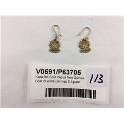 Kara 9ct Gold Papua New Guinea Coat of Arms Earrings 2.4gram