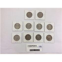 Ten Carded US Kennedy Half Dollars