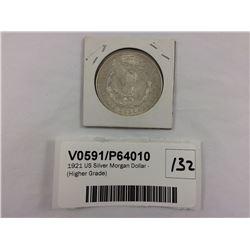 1921 US Silver Morgan Dollar - (Higher Grade)
