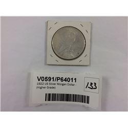 1922 US Silver Morgan Dollar - (Higher Grade)