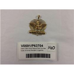 Kara 18ct Gold Papua New Guinea Coat of Arms Pendant 11grams