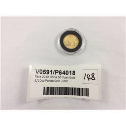 Rare 2012 China 50 Yuan Gold 1/10oz Panda Coin - UNC