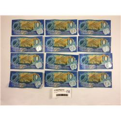 Group of Twelve NZ Millennium $10 Banknotes