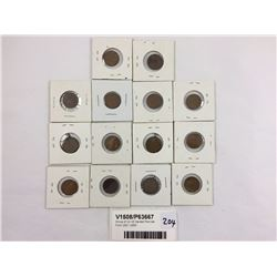Group of 14 US Carded Pennies From 1917-1955