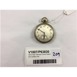 1924 Elgin Railway Pocket Watch with Sweep DIal