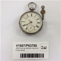 1880 Sterling Waltham Key Wind Pocket Watch