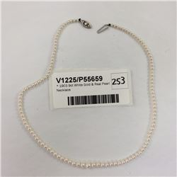 1903 9ct White Gold & Real Pearl Necklace