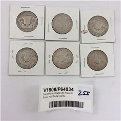 Six Different Date USA Franklin Silver Half Dollar Coins