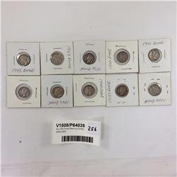Ten USA Silver Mercury Dimes 1936-1945