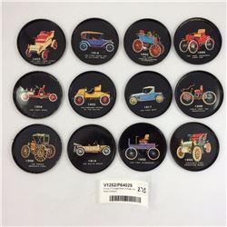 Group of Vintage Steel Vintage Car Steel Coasters