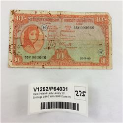Rare Ireland Lady Lavery 10 Shillings 1940 With WAR Code (H)