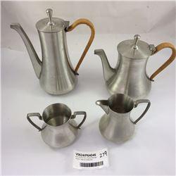 Mid Century Four Piece Selangor Pewter Teas & Coffee Set