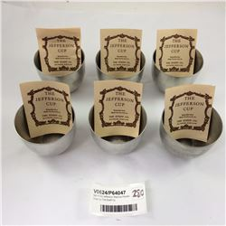 Set of Six Jefferson Replica Pewter Cups by The Stieff Co