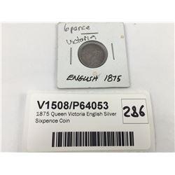 1874 Queen Victoria English Silver Sixpence Coin