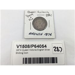 1873 Queen Victoria English Silver Shilling Coin