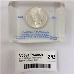 1921 USA Silver Peace Dollar Captured in Plastic Block