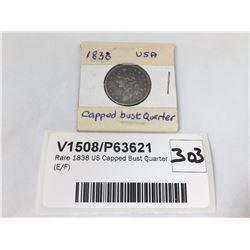 Rare 1838 US Capped Bust Quarter (E/F)