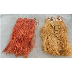 2 Polynesian Grass Skirts w/Helm COA