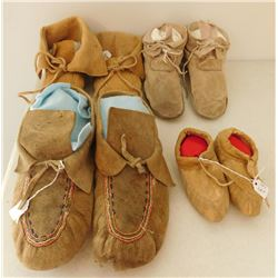 4 Pairs of Beaded & Plain Moccasins