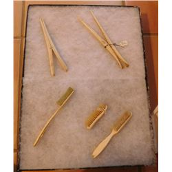 4 Victorian Brushes & 2 Glove Stretchers