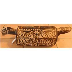 Polynesian Effigy Drum w/Helm COA