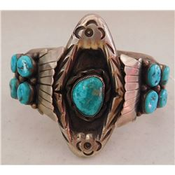 Mens Sterling Silver & Turquoise Cuff