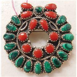 Malachite & Sterling Silver Pin or Pendant