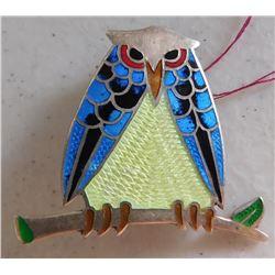 J. Fuentes S.S. & Enamel Owl Brooch