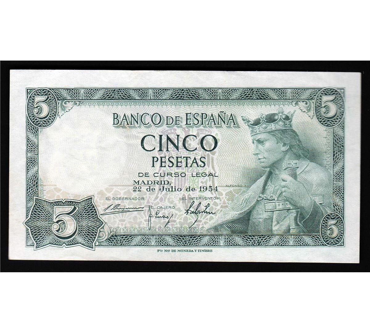 1954 5 Pesetas Spain Currency Note