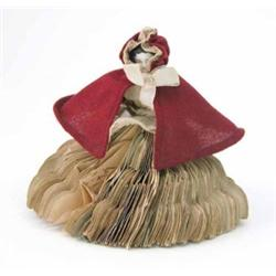 A small German shoulder China 'fortune teller' doll, circa 1870, the doll with a skirt made of pa...