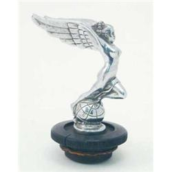 A chromium plated metal Triumph car mascot, in the form of a nude standing on a globe, radiator c...