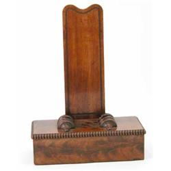 A William IV mahogany plate stand, the upright on a rectangular base with beaded mouldings, 17.5...