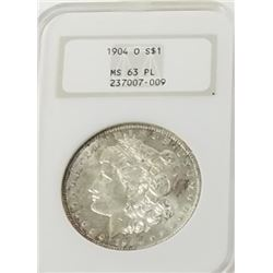 Morgan Silver Dollar 1904 O MS 63 PL.