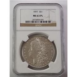 Morgan Silver Dollar 1897 MS 63 PL.