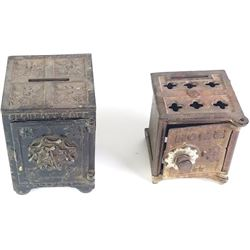 Collection of 2 safe style banks includes