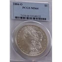 Morgan Silver Dollar 1884 O MS 64.