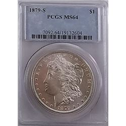 Morgan Silver Dollar 1879 S MS 64